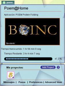 Captura de la ventana de BOINC Manager